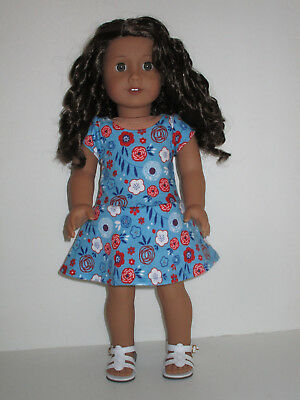 """Blue Flowered Knit Dress for 18"""" Doll American Girl Doll Clothes"""