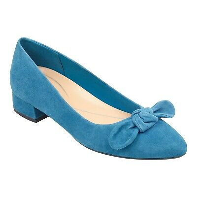0b65c7e651f NEW Easy Spirit Women s Calasee Teal Bow Suede Heels Pumps Shoes Size 8