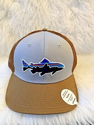 cdf8956245a Patagonia Mens Fitz Roy Trout Trucker Snapback Cap Hat 38008 Gray One Size