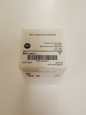 Allen-Bradley 800T-J2KC1 Selector Switch, 3-Pos. Maintained, New In Sealed Box