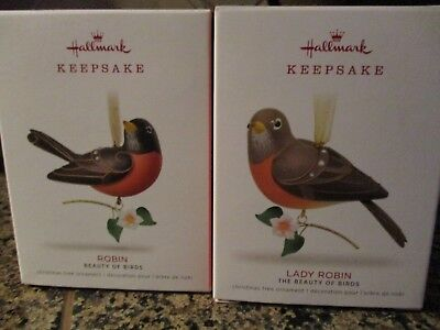 "2018 HALLMARK ""LADY ROBIN and ROBIN""  KEEPSAKE ORNAMENT 2 BEAUTY OF BIRDS. NIB"
