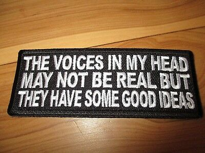 The Voices in my head...Embroidered Patch Sew/Iron Rider biker Motorcycle vest