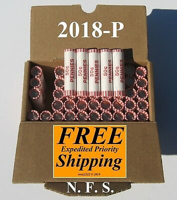 2018 P Lincoln Cent Shield Penny  Five (5) Unopened Rolls N.F.STRING  MS BU UNC