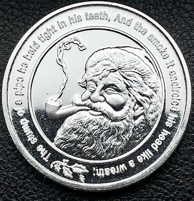 Santa Claus With Pipe Merry Christmas 1 oz .999 Fine Silver Art Coin