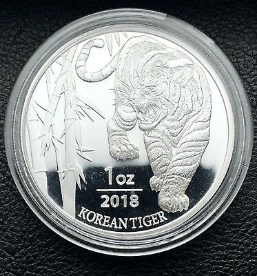 2018 South Korea Tiger 1 oz .999 Fine Silver Coin In BU KOMSCO (00-23)