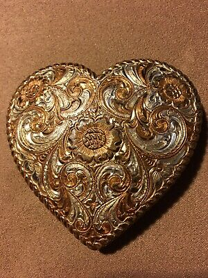 Vintage Crumrine Heavy Silver Plate On Jewelers Bronze Small Heart Belt Buckle