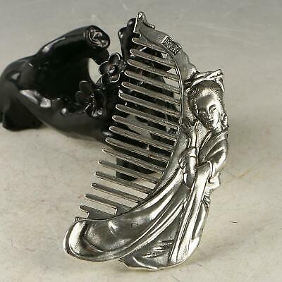 Chinese Exquisite Tibet Silver Handwork Carved Beauty Comb CC1235