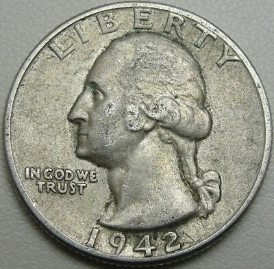 1942 25C Washington Quarter, 90% Silver, #1636