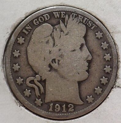 1912-S 50C Barber Half Dollar VG/F Better Date Best Offers Quick Free Ship #TX