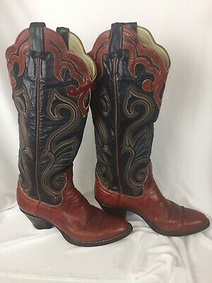 6d57da940da LARRY MAHAN FULL Quill Ostrich Leather Tall Vintage Cowboy Boots ...