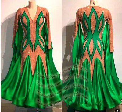 B8023 Ballroom Standard Tango Waltz Quickstep Dance Dress custom made nude green