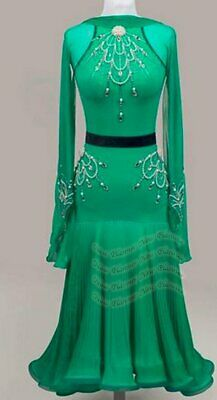 B8024 Ballroom Standard Tango Waltz Quickstep Dance Dress custom made green