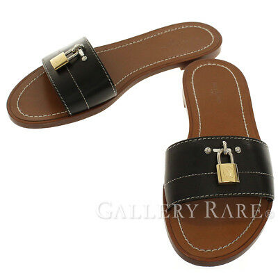 f15635bedc7 Louis Vuitton Lock It Flat Mule Sandals Leather Black Italy Authentic  5145973