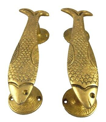 Fish Shape Vintage Antique Repro Handmade Brass Door Pull Handle Knob Home Decor