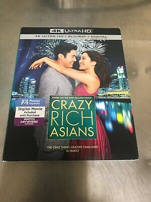 Crazy Rich Asians 4K Ultra Hd Blu Ray Digital + Slipcover Free Shipping