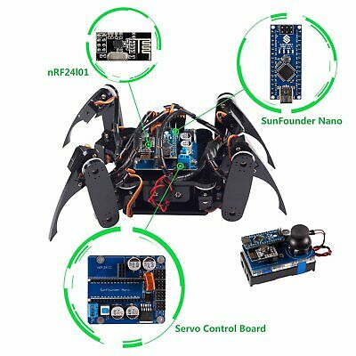 SunFounder Crawling Quadruped Robot DIY Kit for Arduino with Nano Board Remote
