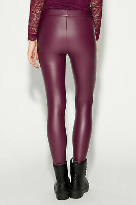 51c08282470b46 CALZEDONIA LEATHER LOOK Burgundy Leggings Side Zip UK 8 10 12 EU S M ...