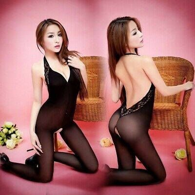 Ladies Body Stockings Bodysuit See Through Catsuit Lace Crotchless Backless Sexy