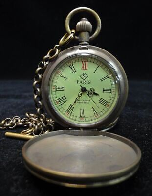 Well Working Rare Old Switzerland Bronze Pocket Watch with Chain