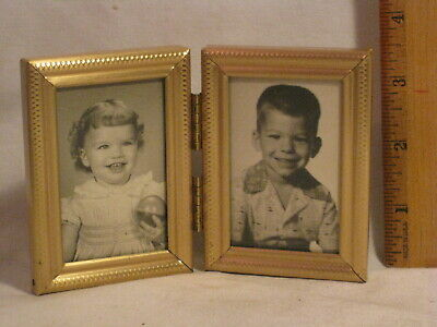 ornate vintage hinged folding metal double photograph picture small photo frame