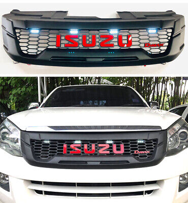 MATTE BLACK FRONT GRILLE GRILL WITH 4 ORANGE LED FOR ISUZU D-MAX DMAX 2012 13 14