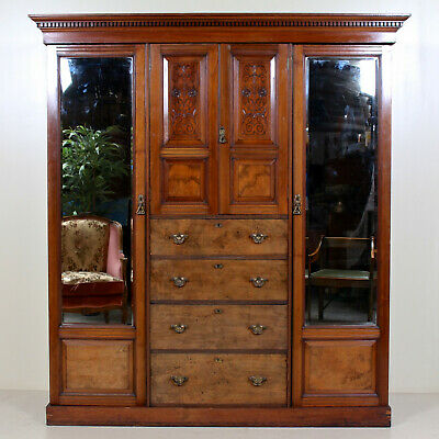 Large Antique Victorian Triple Compactum Wardrobe Walnut Mirrored Armoire