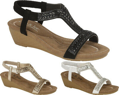 Ladies New Fancy Wedge Sandals Womens Party Dress Beach Summer Holiday Shoes 4-8
