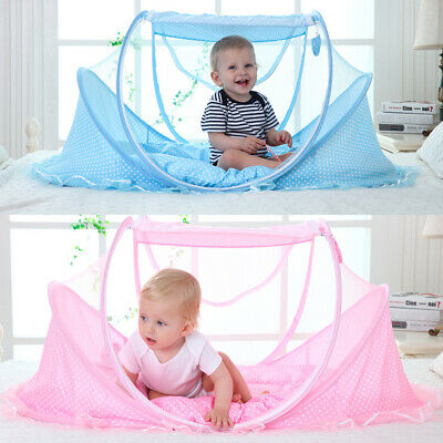 Baby Infant Portable Foldable Travel Bed Mosquito Net With pillow& Bed Mat New