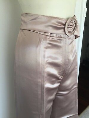 "Women's Vintage ""Designed by Time Sydney"" 70s Satin Look Flares Tall Rose Gold S"