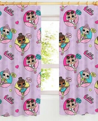 """OFFICIAL LOL SURPRISE GLAM CURTAINS GIRLS KIDS PINK LILAC BEDROOM - 66"""" x 72"""""""