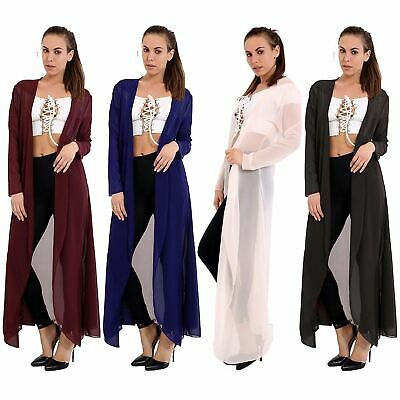 Ladies Womens Long Sleeve Chiffon Waterfall Long Maxi Cardigan Kimono Plus Size