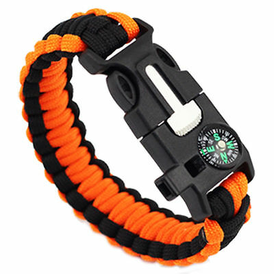 2 x Survival Bracelet Paracord 550 Outdoor Cord With Compass 5in1 Kit-Black/Org
