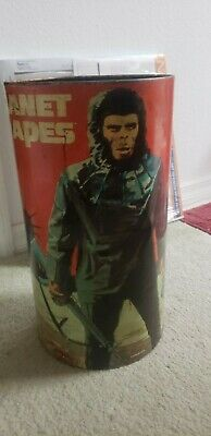 """PLANET OF THE APES Metal Trash Can 1960/1970's 16"""" x 9"""""""