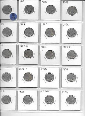 1918-1936 5C Buffalo Nickels 20 diff with new Whitman album Book set B14