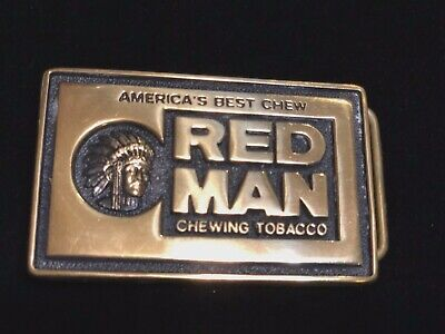 Vintage 1981 Solid Brass Red Man Chewing Tobacco Belt Buckle Indian Head