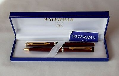 Waterman Exclusive Cognac & Gold Trim Fountain Pen & Pencil Set 18K Gold Medium