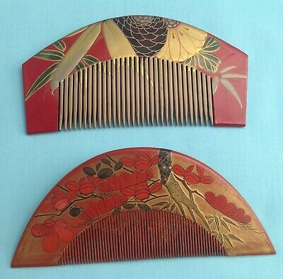 H1298 Antique Japanese Traditional Hair Ornaments Kushi Comb (2)