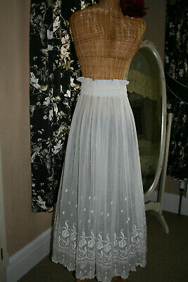 Antique Victorian Hand Embroidered Muslin Skirt With Gathered Waist.