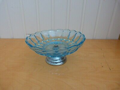 Pretty Collectable Blue Clear Glass Decorative Fruit Bowl On Silver Stand
