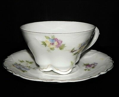 Herman Ohmne Silesia Germany China Tea Cup and Saucer Floral Pattern pre 1920