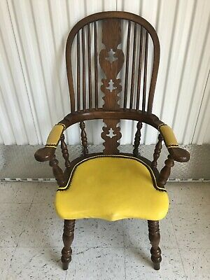Conant Ball Royal Charter Solid Oak Leather Seat Bowback Windsor Arm Chair