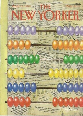 COVER ONLY  The New Yorker magazine ~ April 17 1989 ~ KNOX~ Jellybean Abacus Tax