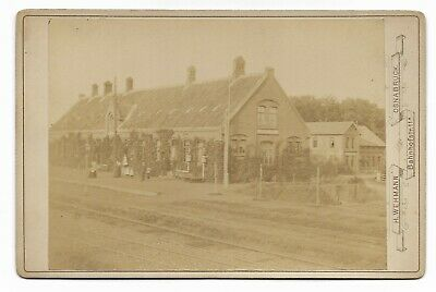 ~1895 TROLLEY Or TRAIN STATION BRAMSCHE OSNABRUCK Germany CABINET CARD B&W Photo