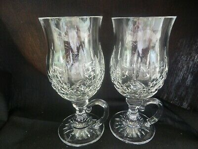 Pair of Waterford Crystal Lismore 8 oz Footed Handled Irish Coffee Mugs