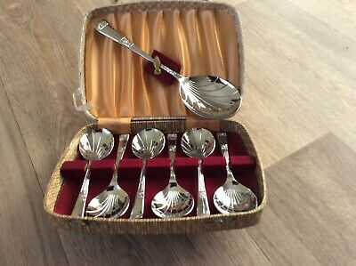Boxed Vintage Sheffield Chrome On Nickel 6 Dessert Spoons & 1 Serving Spoon
