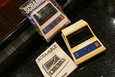 TOMY Scramble  Vintage Handheld Tabletop Electronic  Arcade video Game  IN BOX