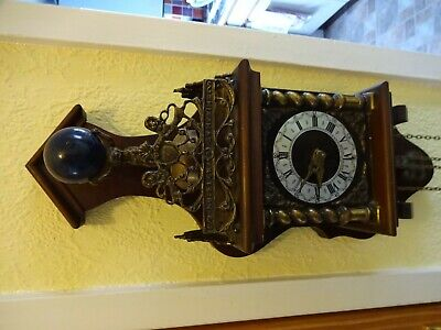 Warmink Wall Clock Dutch Zaanse Wood Chain Driven Vintage Brass Weights