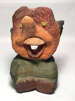 Signed Hand Carved Jim Lepley Folk Art Wooden Troll Made in Norway