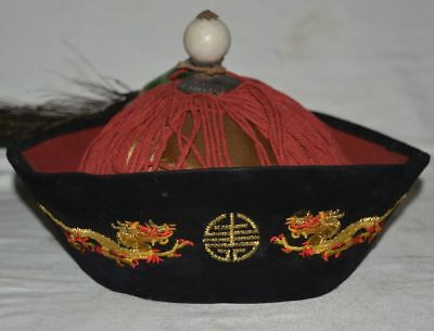 China Qing Dynasty Royals Cap Jade Emerald Accessory Official Hat Peacock tail