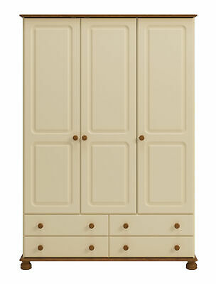 Copenhagen Wide 3 Door 4 Drawer Wardrobe Painted Cream & Pine Combi Wardrobe